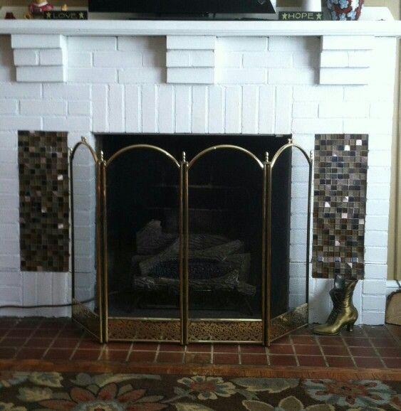 Painted fireplace added glass tile