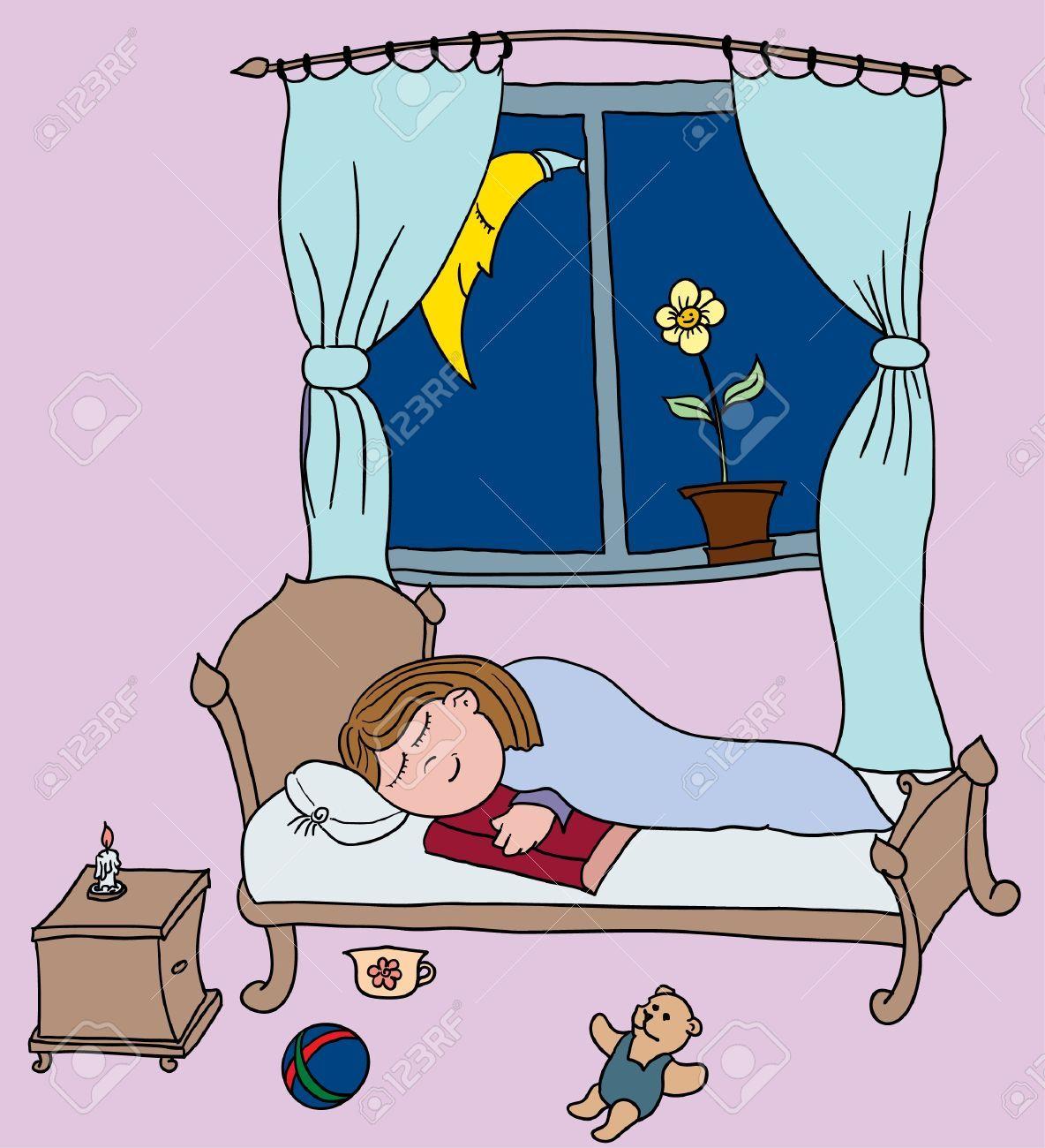 Resultado de imagen para dibujos de nia durmiendo en su cama
