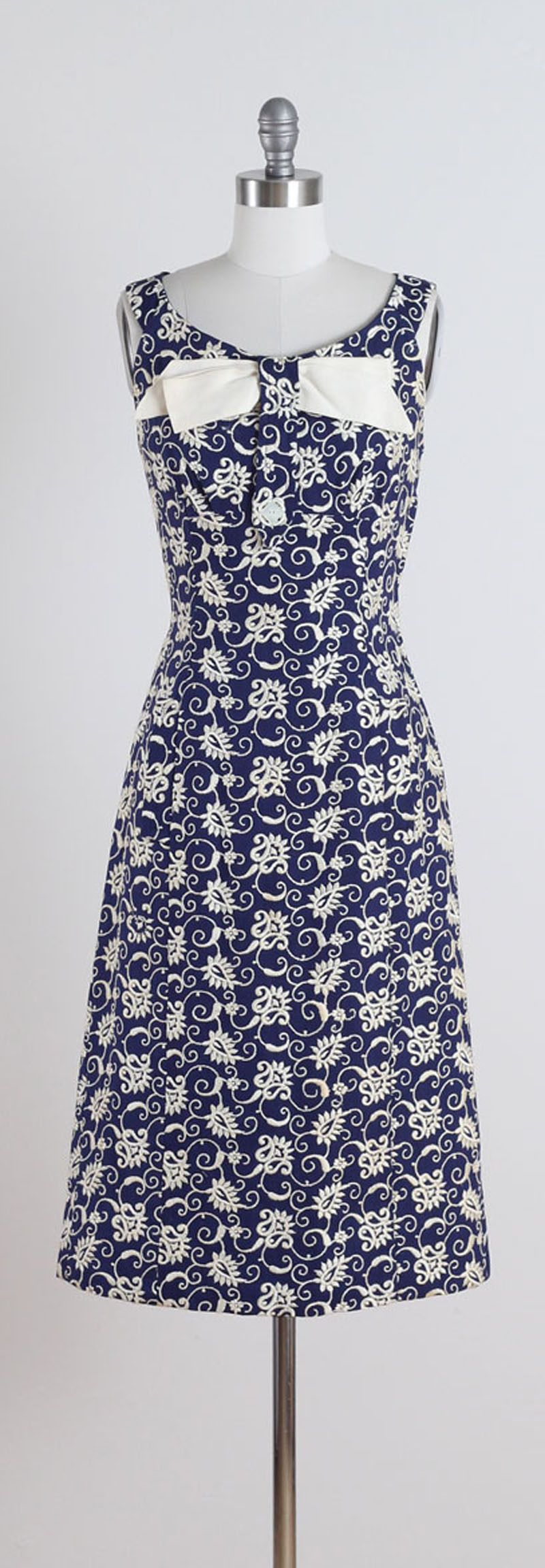 Vintage 1950s Navy Embroidered Irish Linen Dress | Pinterest ...