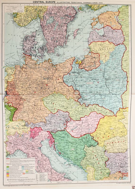 Vintage Map Central Europe Post War Territorial Changes Published