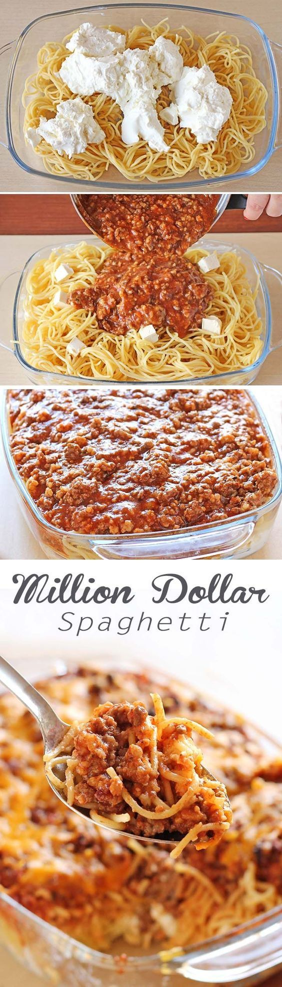 Attractive Spaghetti Noodles, Spaghetti Sauce, Beef, Cottage Cheese, Sour Cream And  Cream Cheese