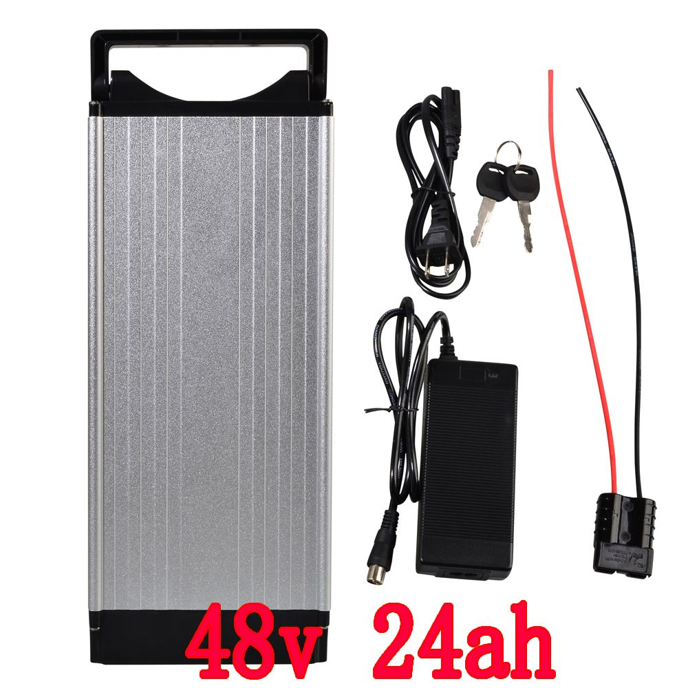 48v 24ah Rear Rack Battery 1000w Electric Bike Lithium Cellphone Charger Using Use Samsung Cells With Aluminum Case 30a Bms 546v 2a