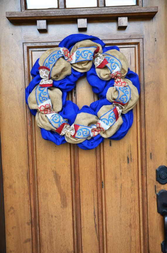 Patriotic Blue Turquoise Red White Burlap Wreath by FestiveCircles, $65.00
