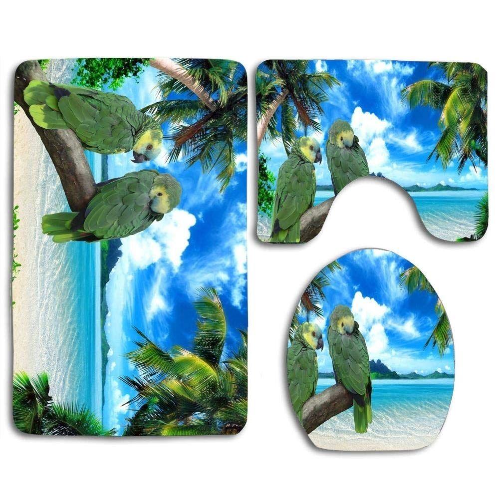 Parrots On Palm Tree Beach 3 Piece Bathroom Rugs Set Bath Rug Contour In 2020 Palm Trees Beach Bathroom Rug Sets Bath Rug