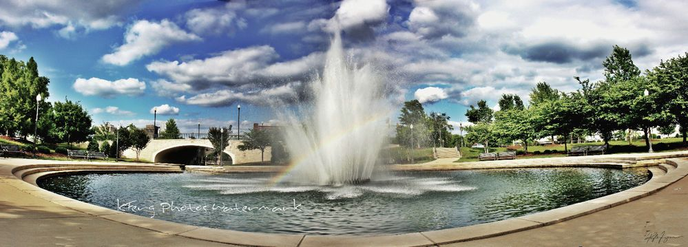 "10.75"" x 30"" Aluminum Metal Art Huntsville, AL HDR Rainbow Fountain Panorama"