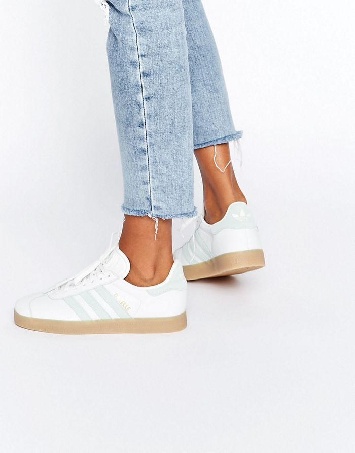 timeless design 31337 a9d3d adidas Originals White And Mint Gazelle Trainers With Gum Sole (Women)  adidas  Gazelle Trainers Vintage white
