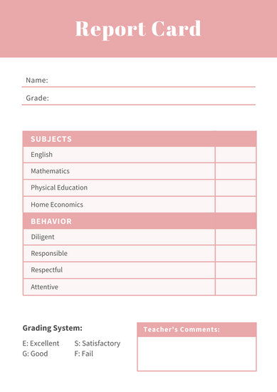 Homeschool Report Card Template 3 Professional Templates Report Card Template School Report Card Teacher Comments