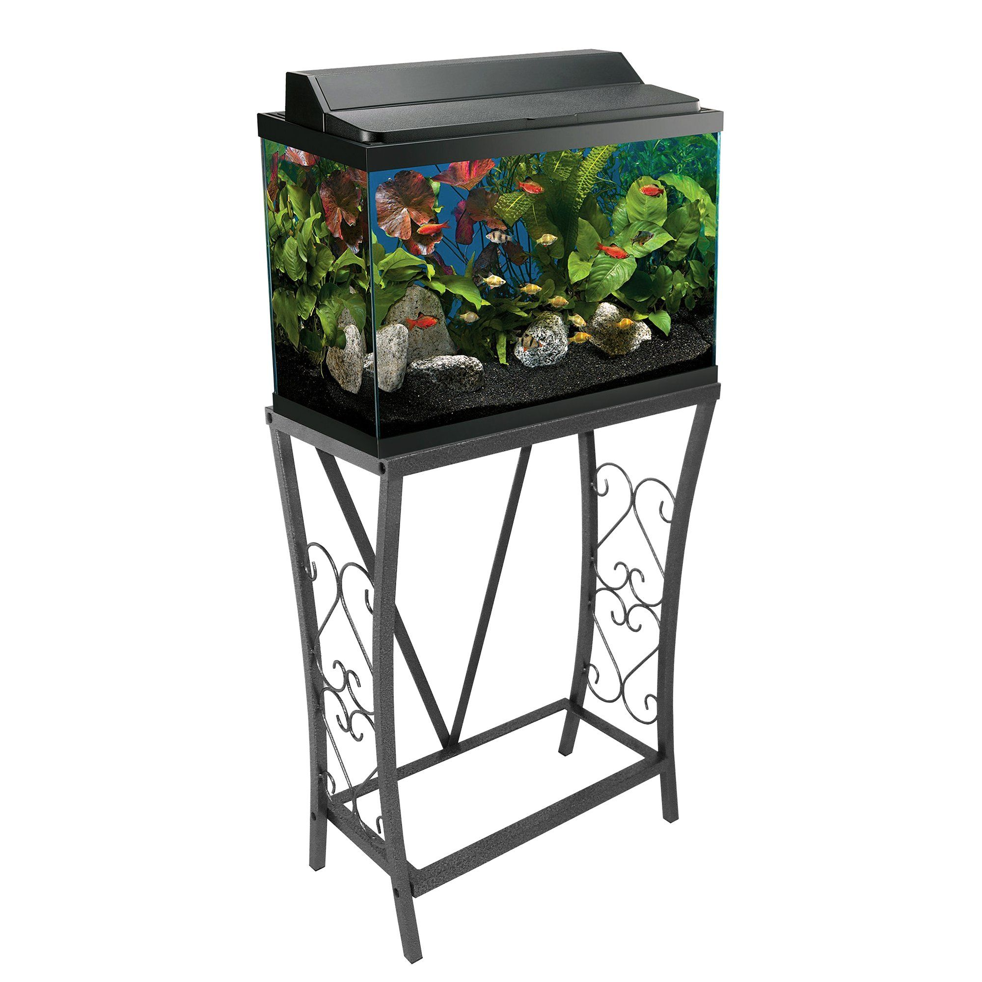 Aquatic Fundamentals Silver Vein Scroll Aquarium Stand 10 Gal Petco Store Aquarium Stand Fish Tank Stand Best Aquarium Fish