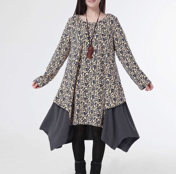 Hey, I found this really awesome Etsy listing at https://www.etsy.com/listing/180243374/cotton-dress-long-sleeve-dress-casual