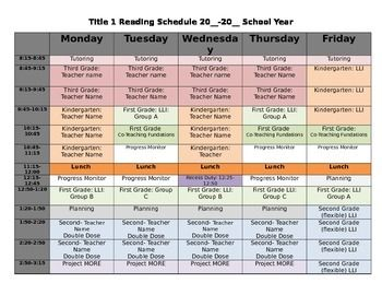 title 1 reading schedule template elementary principal pinterest