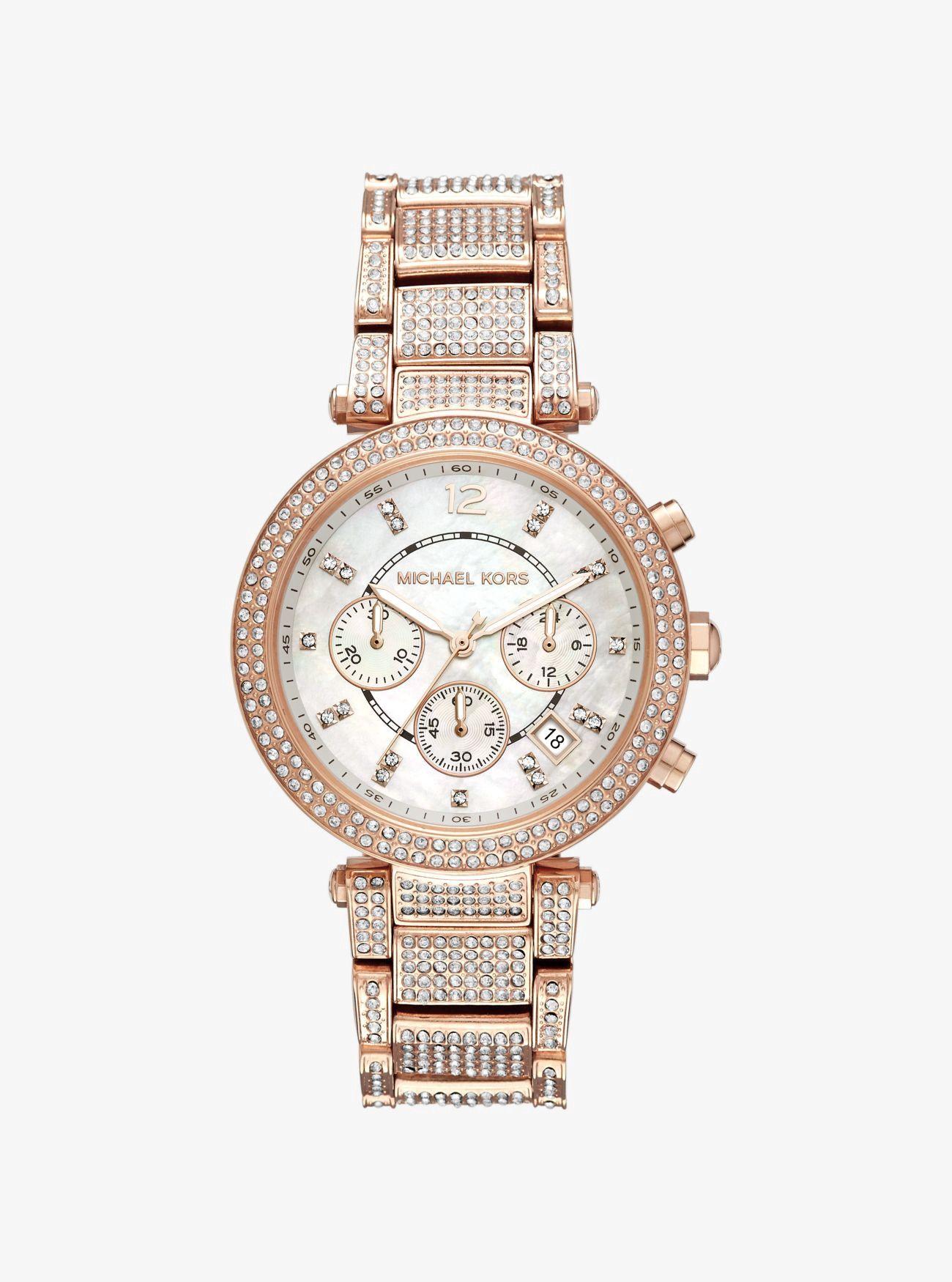 27d9aaae95a7 MICHAEL KORS Parker Pavé Rose Gold-Tone Watch.  michaelkors  all ...