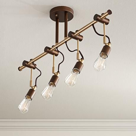 Pro Track Henning 4 Light Oil Rubbed Bronze Track Fixture 1g034 Lamps Plus Farmhouse Light Fixtures Track Lighting Fixtures Adjustable Lighting