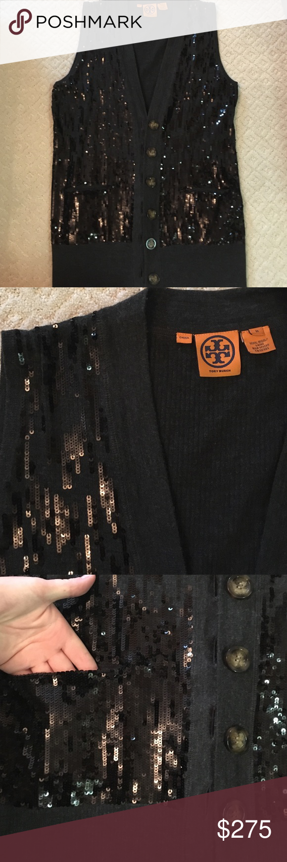 Tory Burch vest Black sparkle vest by Tory Burch. NWOT. Never worn. Functional pockets. 100 % wool. Size M. Sequins are black, fabric is dark grey. Tory Burch Jackets & Coats Vests
