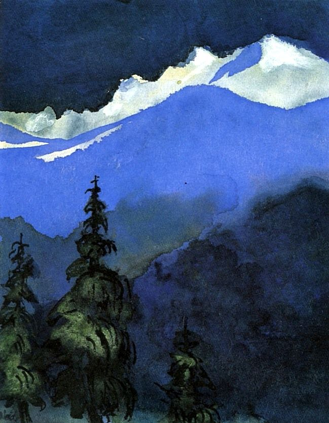 Emil Nolde (1867 — 1956, Germany) Fir Trees. c. 1938-1945 watercolor on Japan paper.