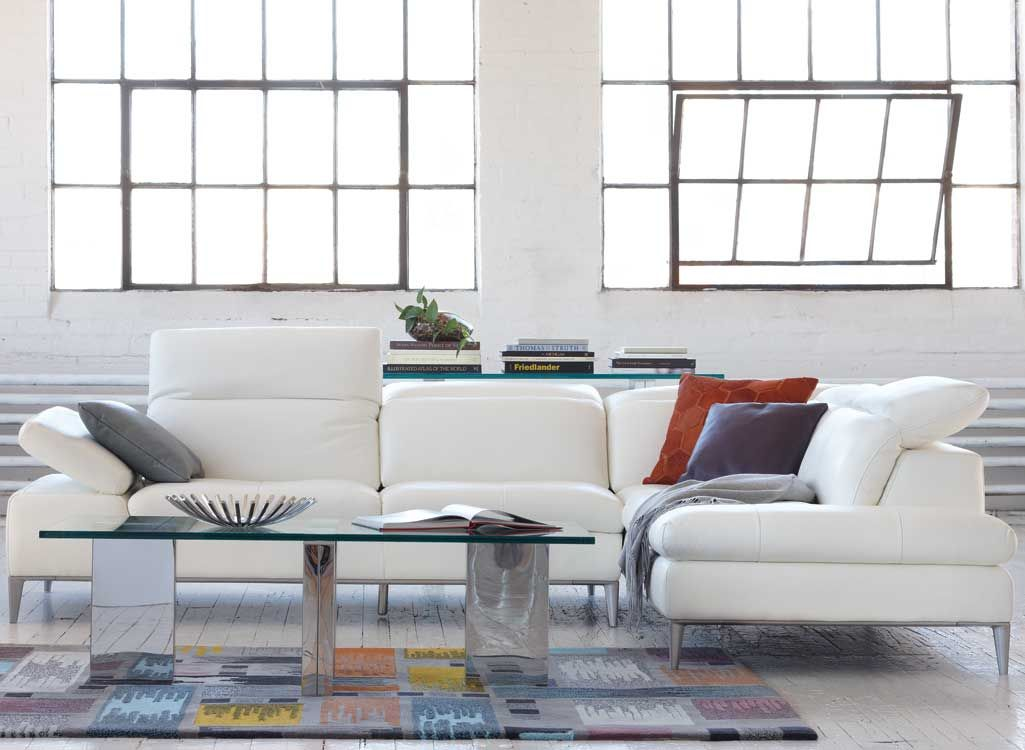 Lorenzo Sectional In White Leather With Adjustable Headrests   Kasala