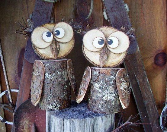 Owl, Rustic Log Owl, Decorative Owl, Handmade, Rustic ...