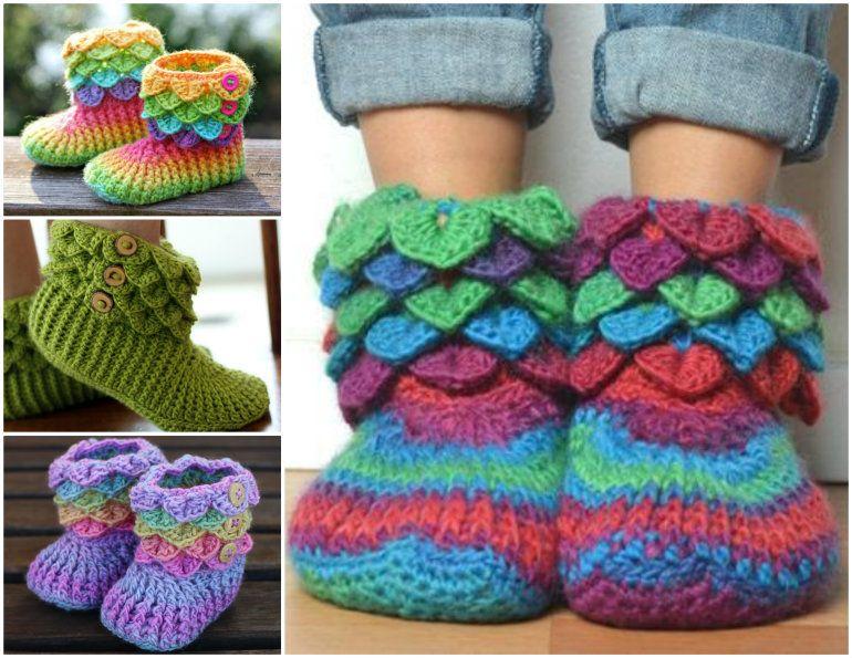 Free Knitted & Crochet Slipper Boots Patterns | Häkeln, Häkelideen ...