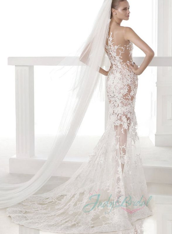 sensual sheer see through lace mermaid wedding dress