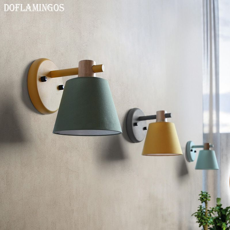 Modern Led Wall Lamp Metal Wood Wall Light Fixtures Home