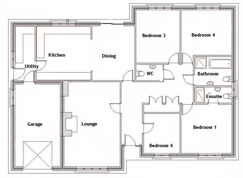 4 Bedroom House Plans Bungalow In 2020 Bungalow Floor Plans Bungalow House Plans Four Bedroom House Plans