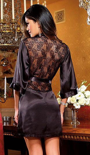 c2001f49b8 Women s Black Satin Charmeuse Short Kimono Robe with Lace Inset by  Dreamgirl - back view