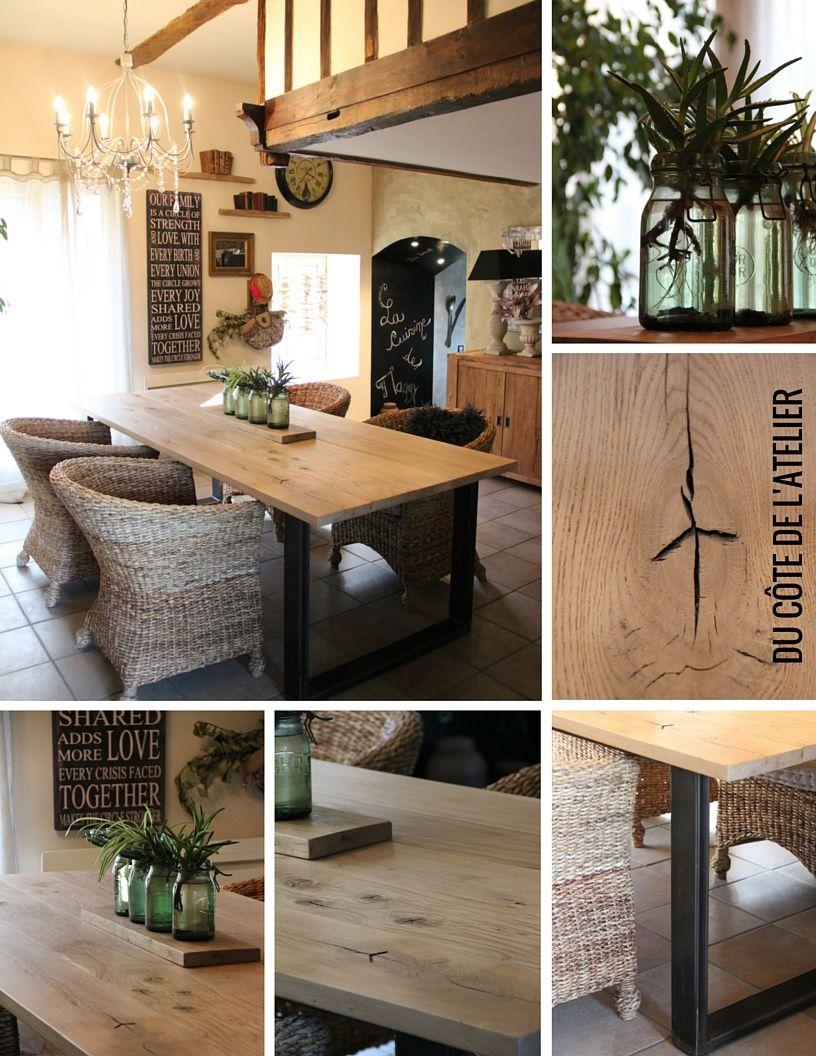 Table de salle à manger sur-mesure en bois et métal Idéal pour déco ...