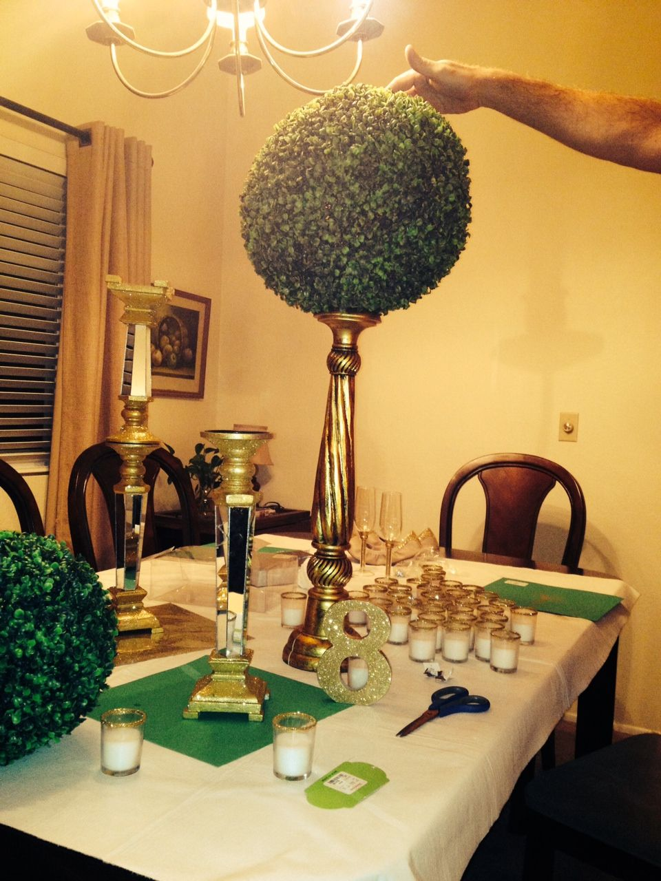 Emerald and Gold Wedding Centerpieces
