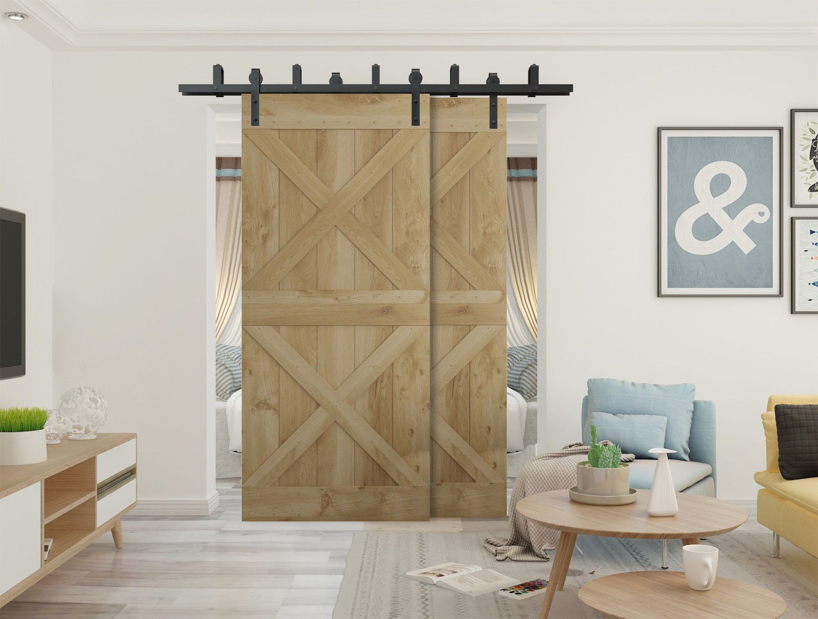 Details About Diyhd 5ft 10ft Rustic Black Bypass Double Sliding Barn Door Hardware Bypass Kit With Images Wood Doors Interior Double Sliding Barn Doors Barn Doors Sliding
