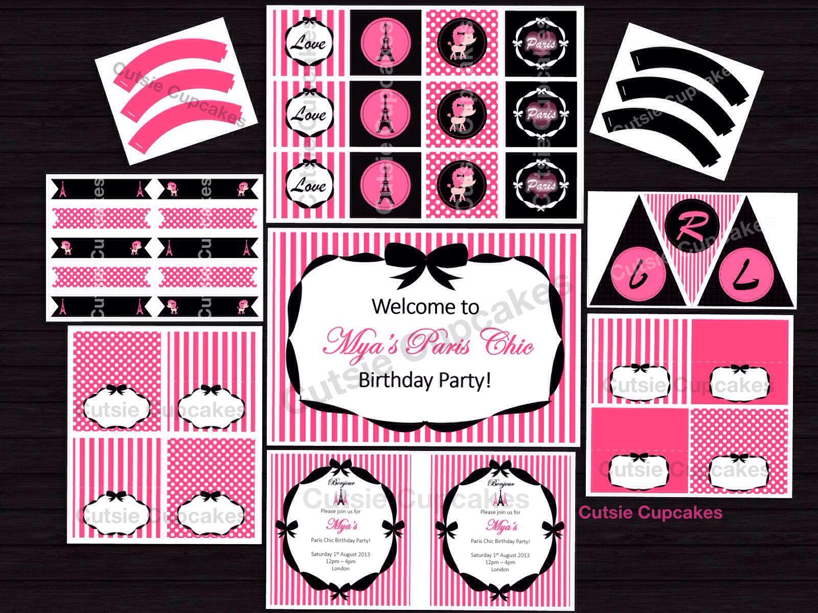 Cutsie Cupcakes - Cutsie Printables - Paris Chic Theme. Included is ...