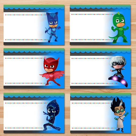 Pj Masks Food Tents Chalkboard Pj Masks Food Labels