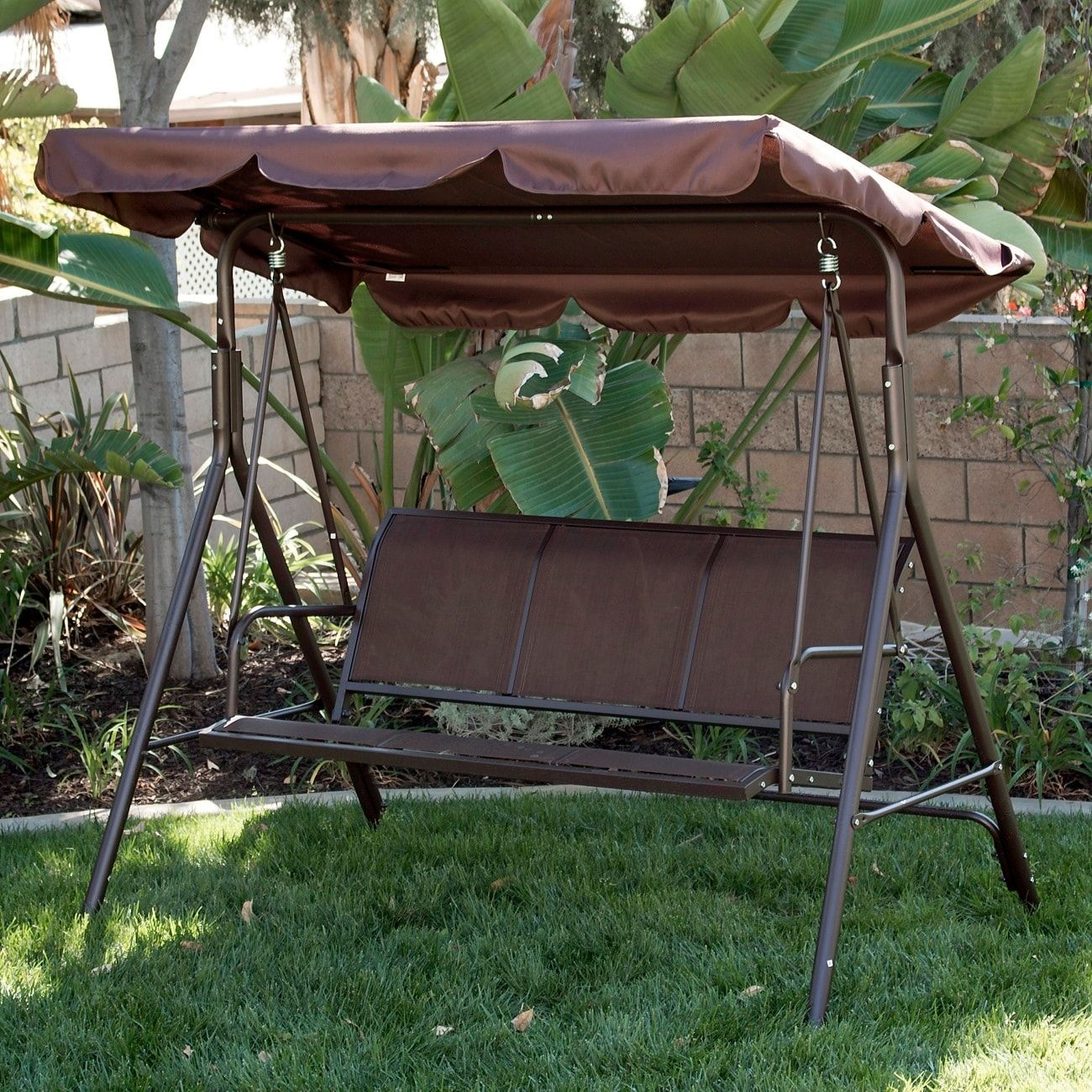 Belleze outdoor person patio swing canopy awning yard furniture