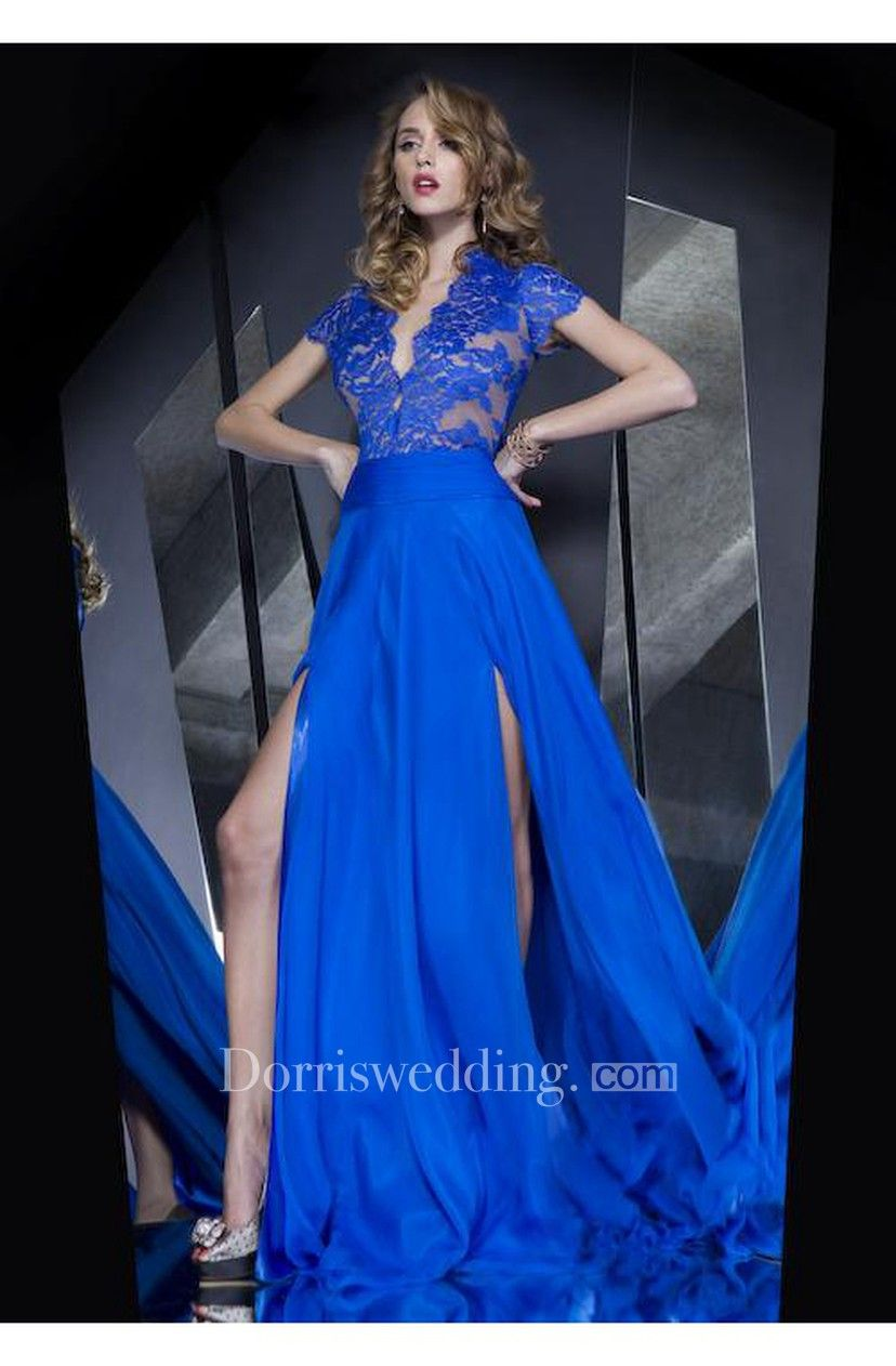ddb20d7c42b0 Hot Sale Long Lace Royal Blue Prom Dresses Slit Front Short Sleeves Evening  Gown - Dorris Wedding