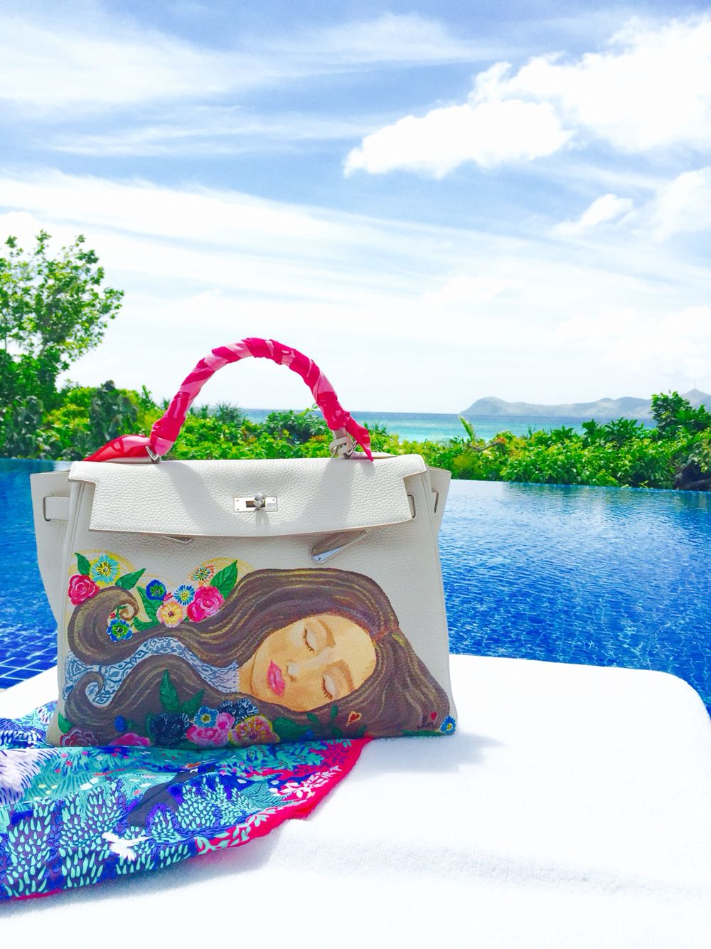 Love Marie hand painted Hermes Kelly | Painted leather bag