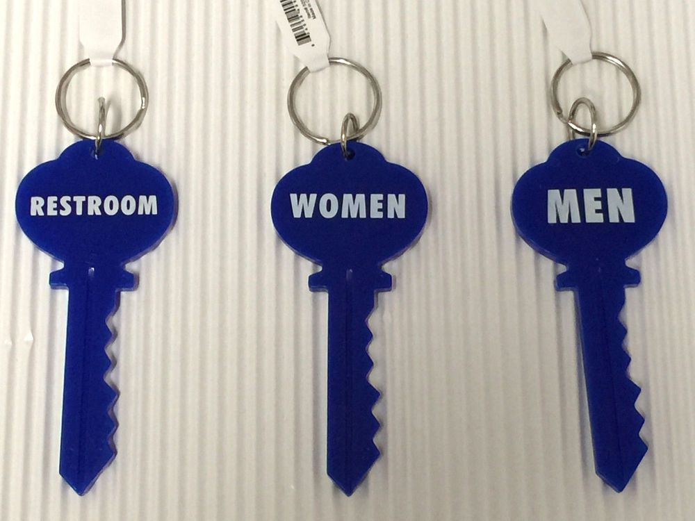 Key Shaped Restroom Key Ring Tag Men Women Unisex Universal