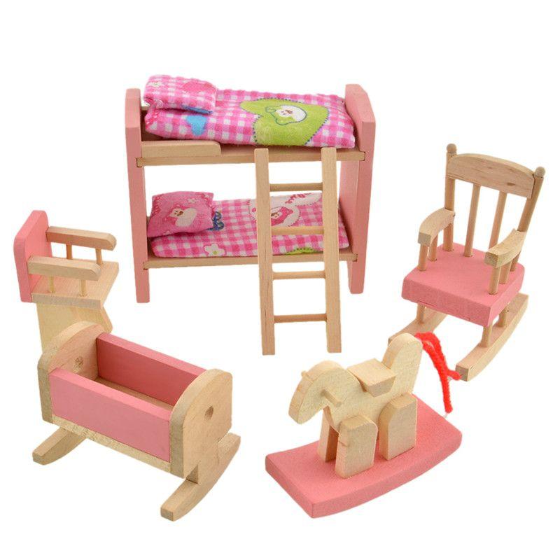 Muñeca De Cama Litera De Madera Muebles De Casa De Muñecas En
