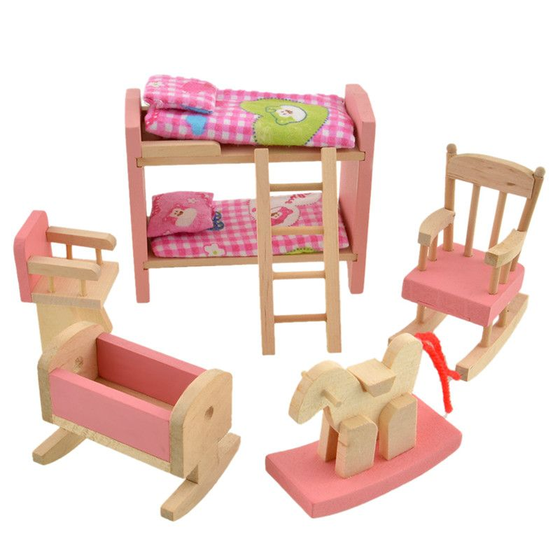 Wooden Dollhouse Bathroom Furniture Miniature For Kids Children Pretend Play Toy
