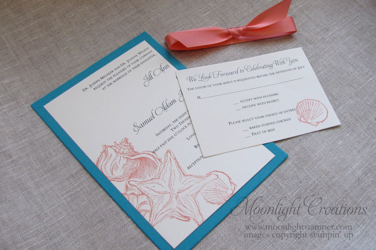 Beach Wedding Invitations Seashell Wedding Invites Turquoise