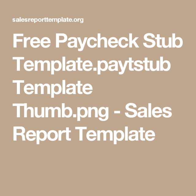 Free Paycheck Stub TemplatePaytstub Template ThumbPng  Sales