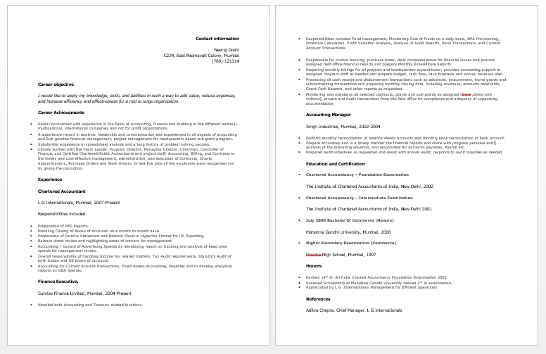 Accountant Resume Template Chartered Accountant Resume  Accounting Resume Samples