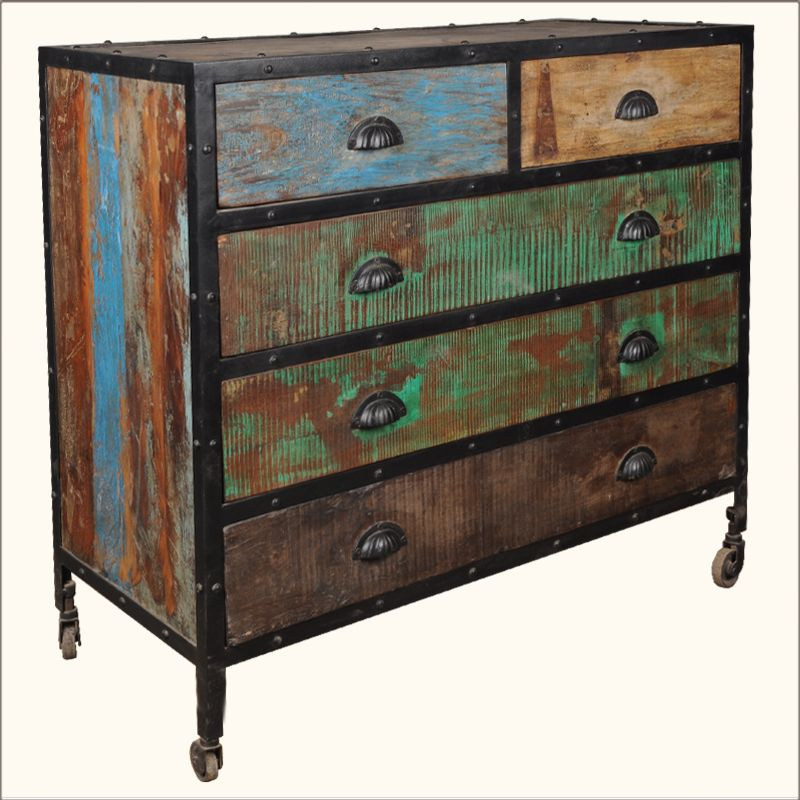 Best 1A Industrial Iron Old Wood Rolling 5 Drawer Dresser 400 x 300