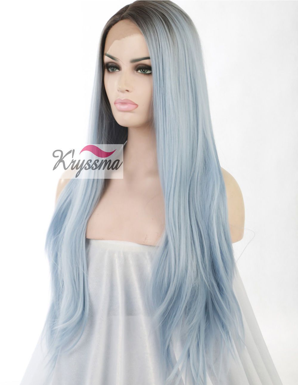 Long straight synthetic wigs dark roots ombre light blue lace front