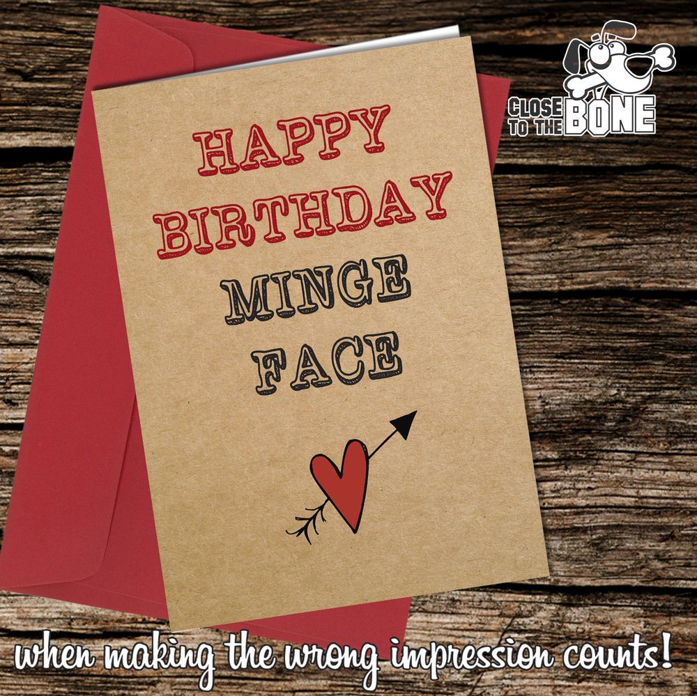 #295 Rude Happy Birthday Minge Face greetings card funny humour cheeky joke  | eBay