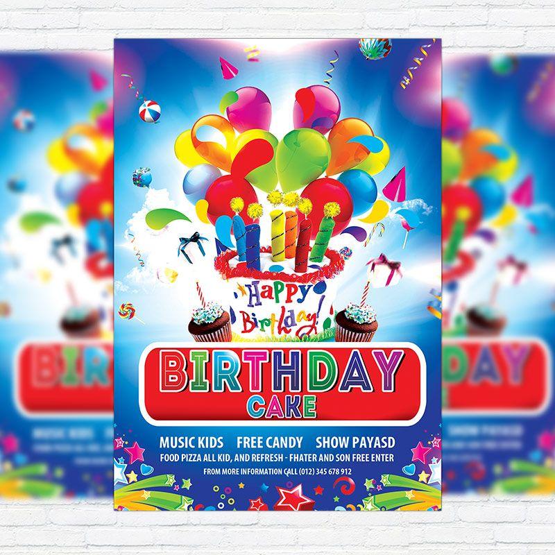 Birthday cake premium flyer template facebook cover