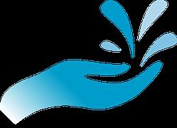 Mano Gotas Agua Estilizado Azul Agua Water Logos Y Blue