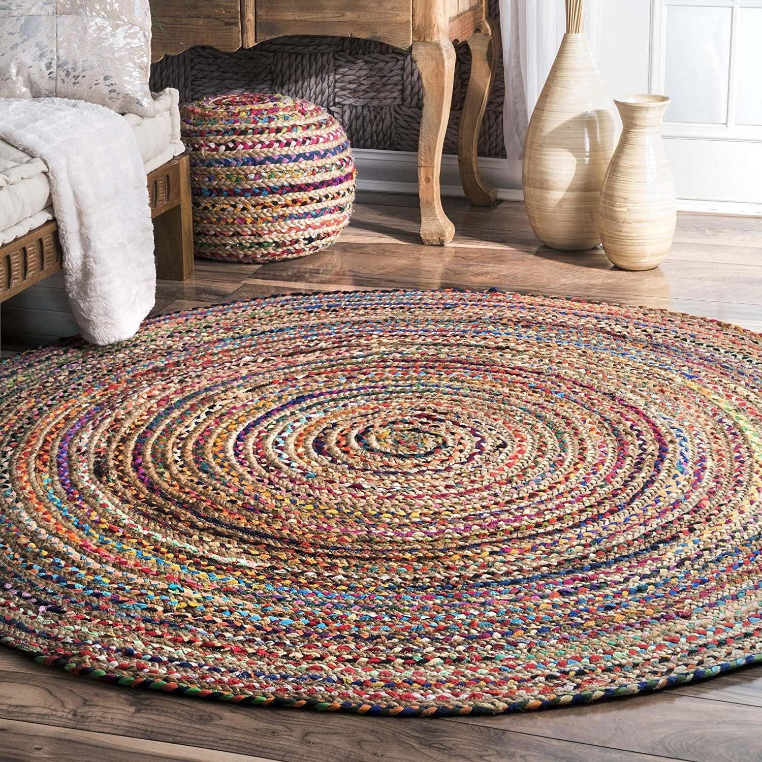 Indian Hand Braided Bohemian Cotton Chindi Area Rug Multi Color