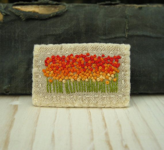Orange Spring Field Hand Embroidered Brooch Pin by Sidereal