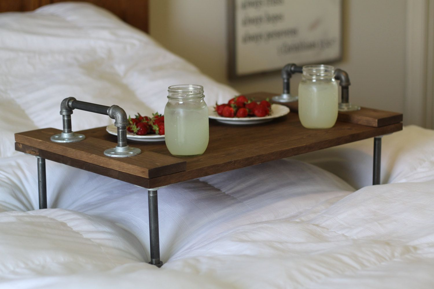 Wooden Tray Decor Adorable Furniturerusticindustrialdiybreakfastoverthebedtraytable Decorating Design