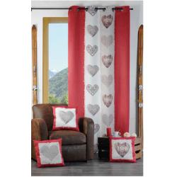 Rideau occultant montagne rouge et beige avec des motifs coeur ...