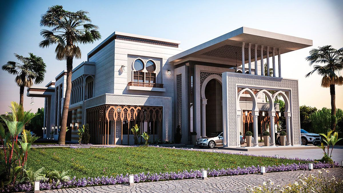 Arabic arch 3d model google search islamic villa for Architecture arabe