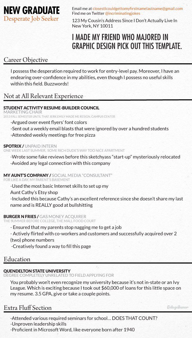 honest resume of a new graduate
